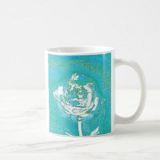 Blue Chrome Rose Mug