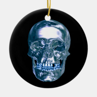 Blue Chrome Skull Ornament