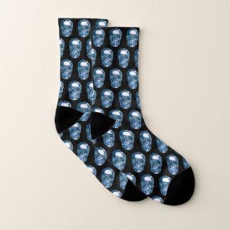 Blue Chrome Skull Socks 1
