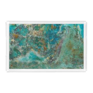 Blue Chrysocolla Stone Image Acrylic Tray