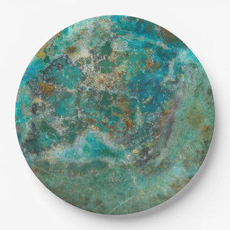 Blue Chrysocolla Stone Image Paper Plate