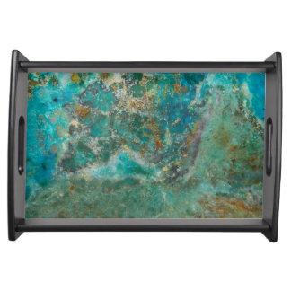 Blue Chrysocolla Stone Image Serving Tray