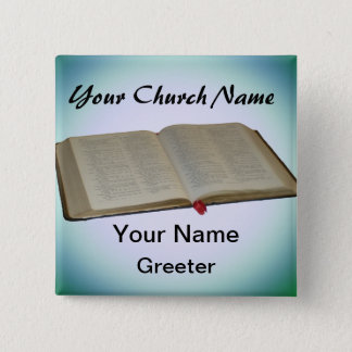 Blue Church Greeter Nametags with Bible 2 Inch Square Button