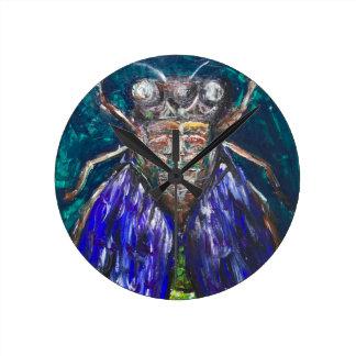 Blue Cicada (Surreal Realism insect painting) Wallclock