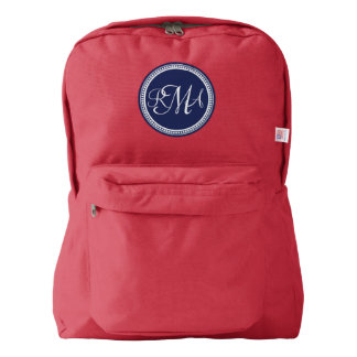 Blue Circle 3 Letter Monogram Personalized Backpack