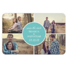 Blue Circle Design Photo Save The Date Magnet