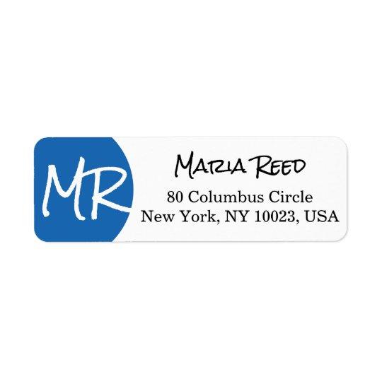Blue Circle/Dot Modern Custom Monogram Label Return Address Label