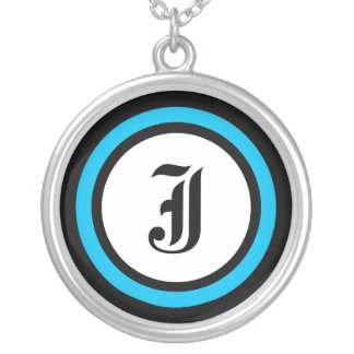 Blue Circle Initial Round Pendant Necklace