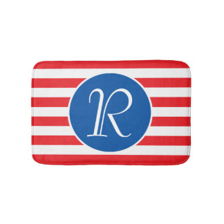 Blue Circle Monogram Bath Mat