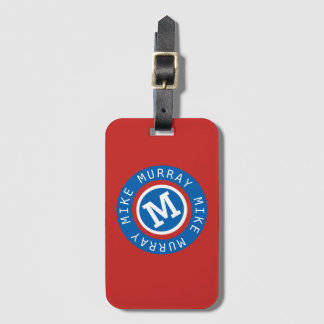 blue circle monogram / name & initial M letter Luggage Tag