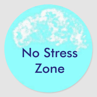 blue circle, No Stress Zone Classic Round Sticker