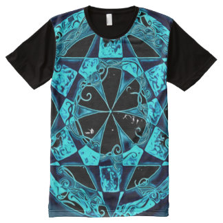 Blue Circle of Akasha Colorful Art Mandala All-Over-Print T-Shirt