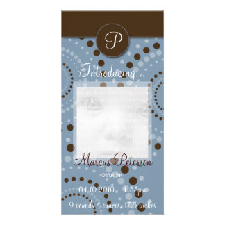 Blue Circle Pattern Baby Announcement Photo Cards