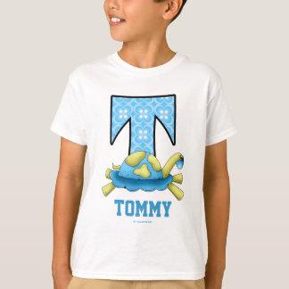 "Blue Circle Print Turtle Monogram ""T"" Shirt"