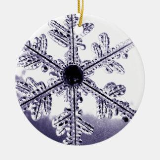 Blue Circle Snowflake Round Ceramic Ornament