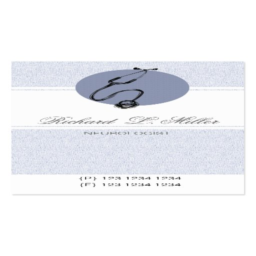 Blue doctor stethoscope double sided standard business for Circle business card template