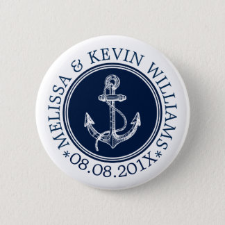 Blue Circle White Nautical Boat Anchor 2 Inch Round Button