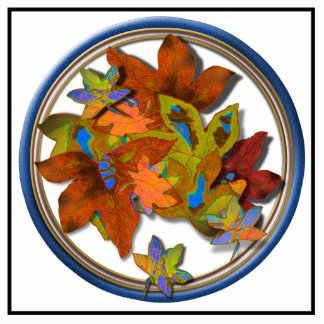Blue Circled Fall Leaves Acrylic Cut Outs