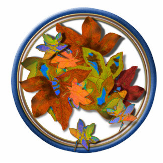 Blue Circled Fall Leaves Cut Out