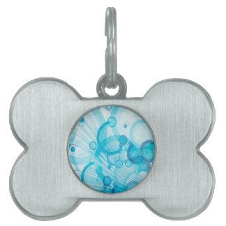 Blue circles background design pet name tags