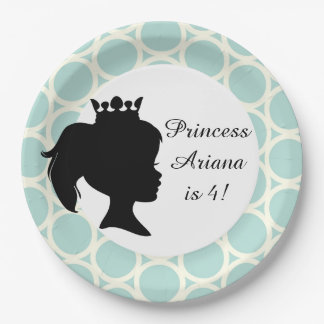 Blue Circles Princess Custom Birthday Paper Plates