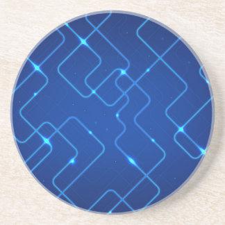 Blue circuit board beverage coasters