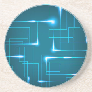 Blue circuit board design drink coaster