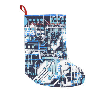 Blue Circuit Board Small Christmas Stocking
