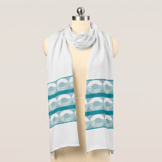 Blue Circular Lined White Jersey Scarf