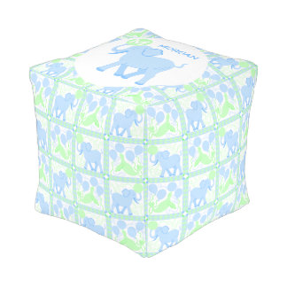 Blue Circus | Baby Boy Nursery Adorable Pattern Pouf