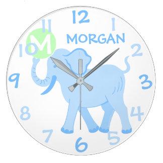 Blue Circus | Baby Boy Nursery Cartoon Elephant Large Clock