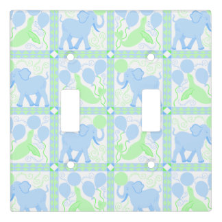Blue Circus | Baby Boy Nursery Pattern Elephant Light Switch Cover