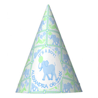 Blue Circus   Baby Shower Boy Elephant Pattern Party Hat