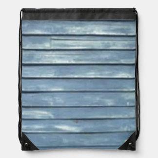 Blue Clapboard Drawstring Bag