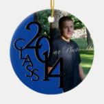 Blue Class 2014 Graduation Photo Round Ceramic Ornament