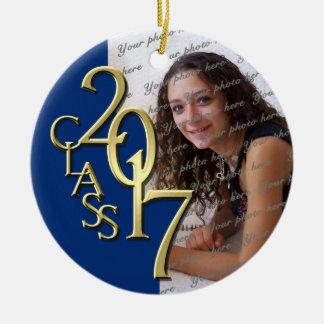 Blue Class 2017 Graduation Photo Ceramic Ornament