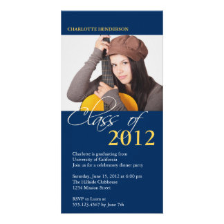 Blue class of graduation photo announcement card picture card