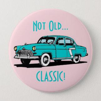 Blue Classic Car Funny Birthday Button