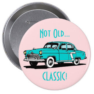 Blue Classic Car Funny Birthday Button