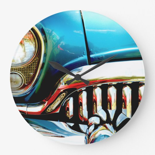 Blue Classic Car Grill Photo Clock