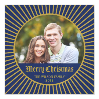 Blue Classic Decorative Merry Christmas Photo Magnetic Invitations