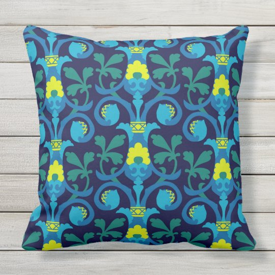 Blue classic patterns throw pillow