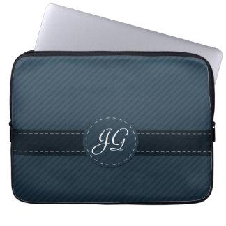 Blue Classic Stripe Monogram Laptop Sleeve