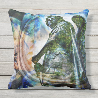 Blue Classical Angel Statue - Outdoor Pillow