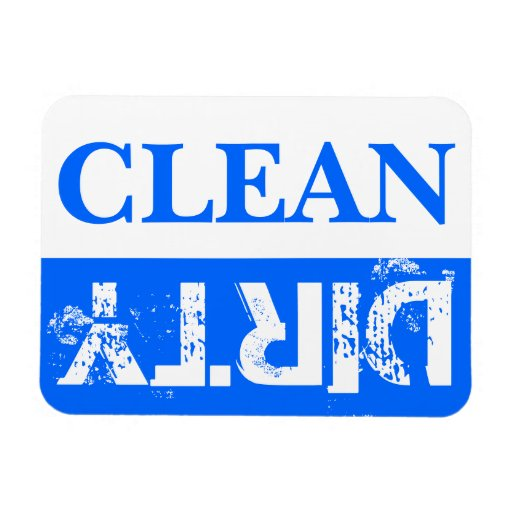 Blue Clean and Dirty Dishwasher Vinyl Magnets