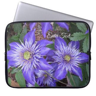 Blue Clematis Flowers Laptop Sleeve