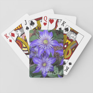 Blue Clematis Flowers Playing Cards