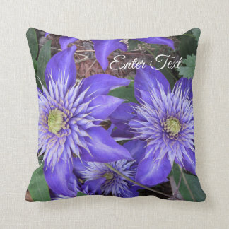 Blue Clematis Flowers Throw Pillow