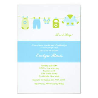 Blue Clothesline Baby Shower Invitation