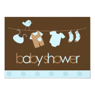 Blue Clothesline Boys Baby Shower Card